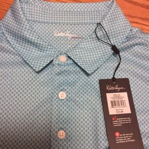 NWT Walter Hagen XL Polo LadderPrint Teal Bluebird